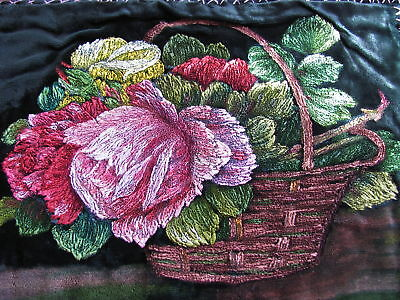 ANTIQUE FRENCH VELVET  ROSES NEEDLEWORK / PAINTING To Frame GORGEOUS Pillow ?