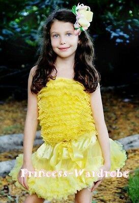 Baby Yellow Pettiskirt & Yellow Lace Tube Top Set 1-8Y