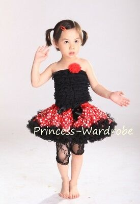 Baby Minnie Dot Pettiskirt Black Lace Tube Top Set 1-8Y