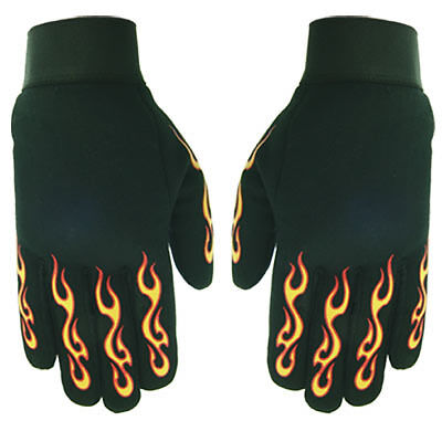 Spandex Cruiser Gloves Orange/Yellow Flames