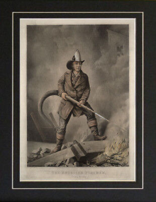 Early Firefighter Fireman Poster Vintage NYFD Photo