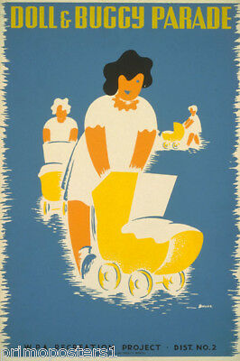 Doll And  Buggy Parade Mothers Babies Recreation Usa Vintage Poster Repro
