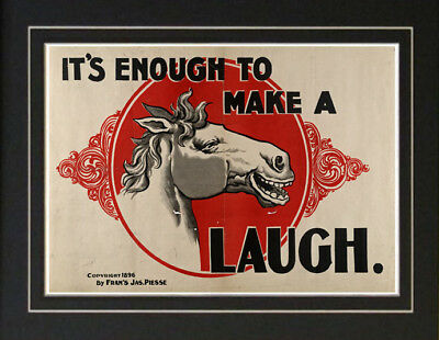 1896 Make a Horse Laugh Farm vintage ad poster Antique
