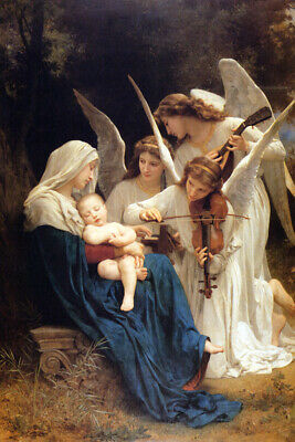 Song Of The Angels Violin To Mary And Baby Jesus Painting By Bouguereau Repro