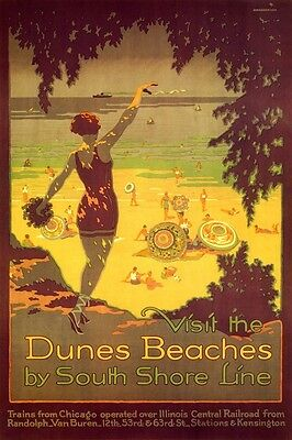 POSTER 25 MILES OF BEACH SOUTH SHORE LINE ILLINOIS TRAVEL VINTAGE REPRO FREE S//H
