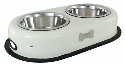 Double Dog Puppy Bowl For Food Water Feeding ....cream