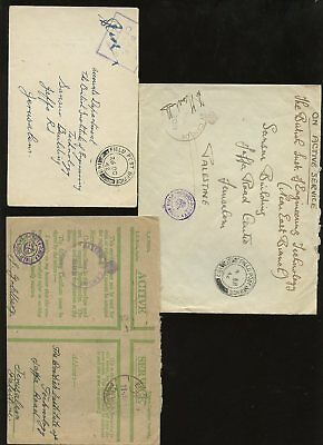 Palestine 1942 Ww2 Fpo + Raf Censors + Egypt...3 Covers