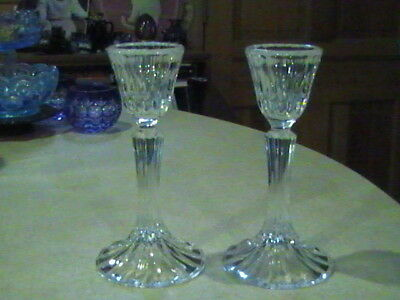 2 D'Arques Crystal Bretagne Candle Holders 6 5/8""