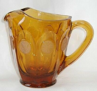 Fostoria Frosted Coin Glass Amber Pitcher