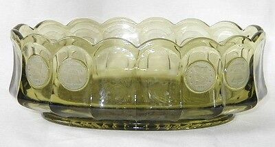 Fostoria Frosted Coin Glass Olive Oval Bowl