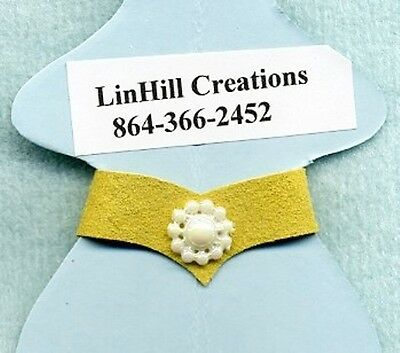 Linhill Barbie Belt Yellow Suede Leather Pearl Daisy