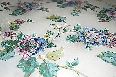 """Town House 2"" Multicolored Flowers - Floral Vinyl Wallpaper Roll [W1038]"
