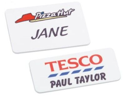 Personalised Plastic I.D Badges include  logo/name/position Pin, Magnet or Clip