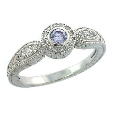 Sterling Silver Engagement Ring w/Alexandrite Colored (Center) & Clear CZ Stones