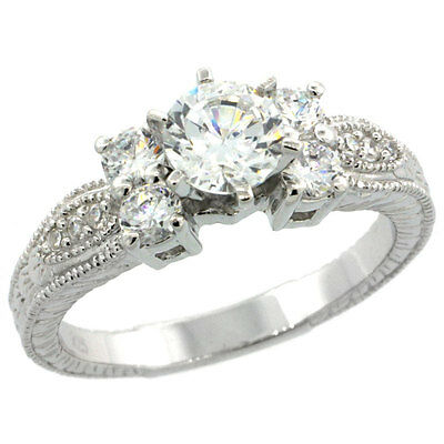 Sterling Silver Engagement CZ Ring w/ 6mm (1.0 ct) Brilliant Cut Center CZ Stone
