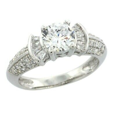 Sterling Silver Engagement CZ Ring w/ 6mm (1 ct) Brilliant Cut Center CZ Stone