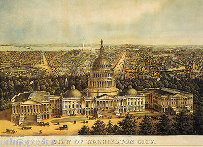 1800's Panoramic View Of Washington City United States Capitol Repro Poster