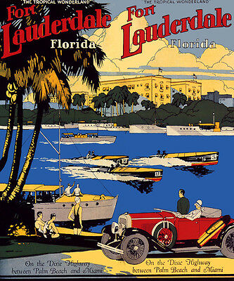FORT LAUDERDALE FLORIDA CAR BOATS PALM BEACH MIAMI TRAVEL VINTAGE POSTER REPRO