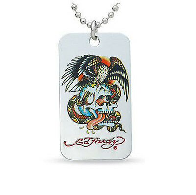 ED HARDY PANTHER HEAD DOG TAG PENDANT  NECKLACE pouched