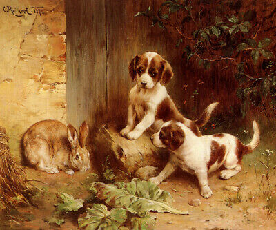 Best Of Friends Rabbit Puppies Dogs Animal Painting  By Carl Reichert Repro