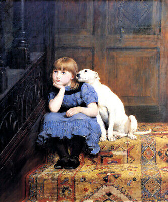 Sympathy Little Girl Comforted By Her Dog 1878 Painting By Briton Riviere Repro