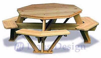Traditional Octagon Picnic Table Woodworking Plans / Pattern #ODF05
