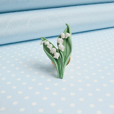 LILY of the VALLEY  LAPEL PIN   hand-painted  flower jewellery  MADE IN WALES,UK