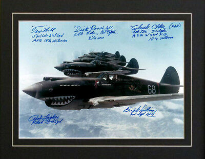Air Force USAF Fighters The Flying Tigers 5 Autographs
