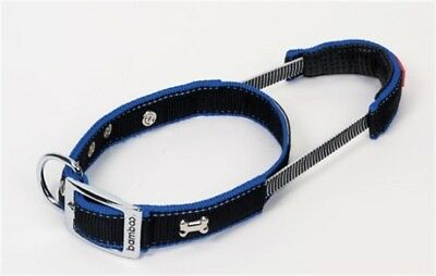Bamboo Quick Control Dog Collar & Built-In Leash BLK M