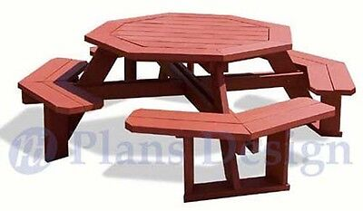 Classic Octagon Picnic Table Woodworking Plans / Blueprints #ODF08
