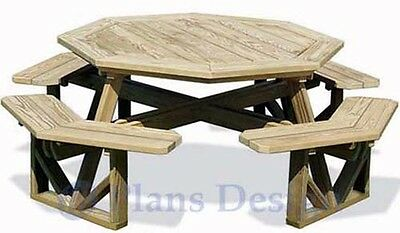 Classic Large Octagon Picnic Table / Bench Woodworking Plans #ODF07