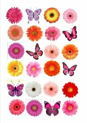 24 X Butterfly & Flowers Edible Cupcake Toppers Fb1