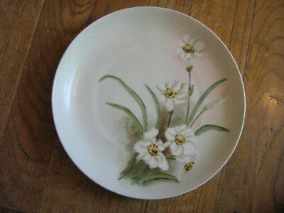 "Vintage Hand Painted KPM 8 1/4"" Plate-WHITE FLOWERS"
