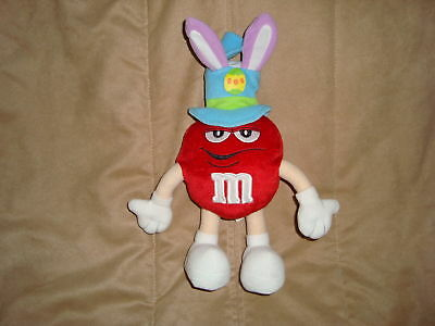 Plush Red M&M in Easter Bunny Hat wired arms and legs