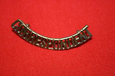 WW2 BRITISH ? CORRESPONDENT METAL SHOULDER TITLE BADGE SINGLE