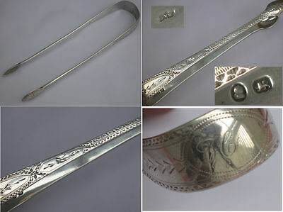 Quality Antique English George III Sterling Silver Sugar Tongs