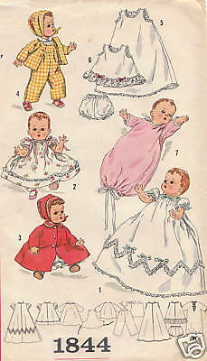 """1844 Vintage Chubby Baby Doll Pattern - Size 16"""" - Year 1956"""