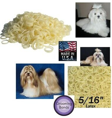 """100 pc Pack 5/16"""" DOG Grooming Bands Rubber Latex Rosin Coated for Bow Top Knot"""