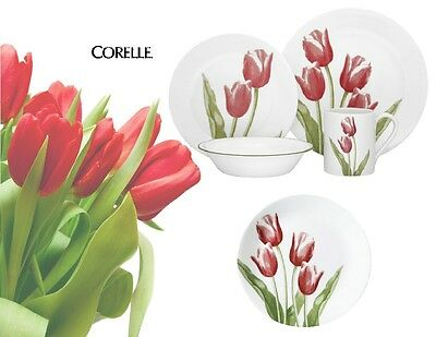 16-pc Corelle Impessions TULIP BOUQUET Dinnerware Set *Blooming Red Green NEW