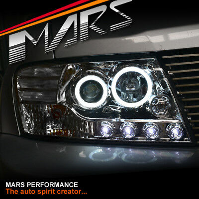 Crystal Clear Angel Eyes Projector Head Lights for Mitsubishi Pajero 00-06 NP NM