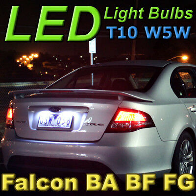 Ford Falcon White T10 LED Number Plate Lights, fit BA BF FG FGX XR6 G6E FPV F6