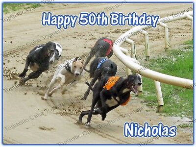 Personalised Greyhound Dog Track Racing Edible Icing Birthday Party Cake Topper