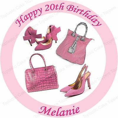 Personalised Pink Shoes & Handbags Edible Icing Birthday Party Cake Topper