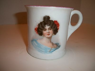 ANTIQUE PORTRAIT MUG Victorian Woman Cup GERMANY Pink