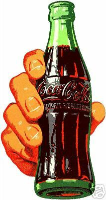 COKE BOTTLE WITH HAND HOLDING IT  VINYL STICKER (A606)