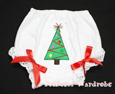 Xmas Tree Print with Red Bows Bloomers Panties 6m-3Year