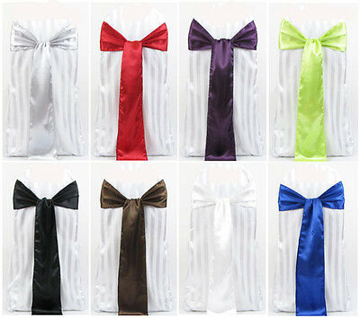"100 Satin Chair Cover Sash Bows 6""x108"" 30 Colors Made in U.S.A Wedding Party"