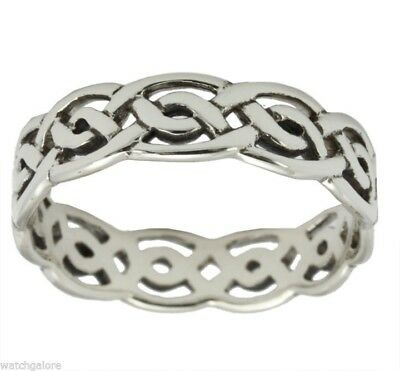 New Ladies Sterling Silver Gold Irish Celtic Weave Knot Wedding Ring Band