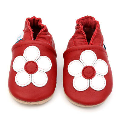 Dotty Fish Soft Leather Baby & Toddler Shoes - Red Flower - 0-6 Month - 3-4 Year