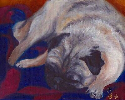 11X14 PUG BUTTERFLY Dog Art PRINT of Painting by VERN